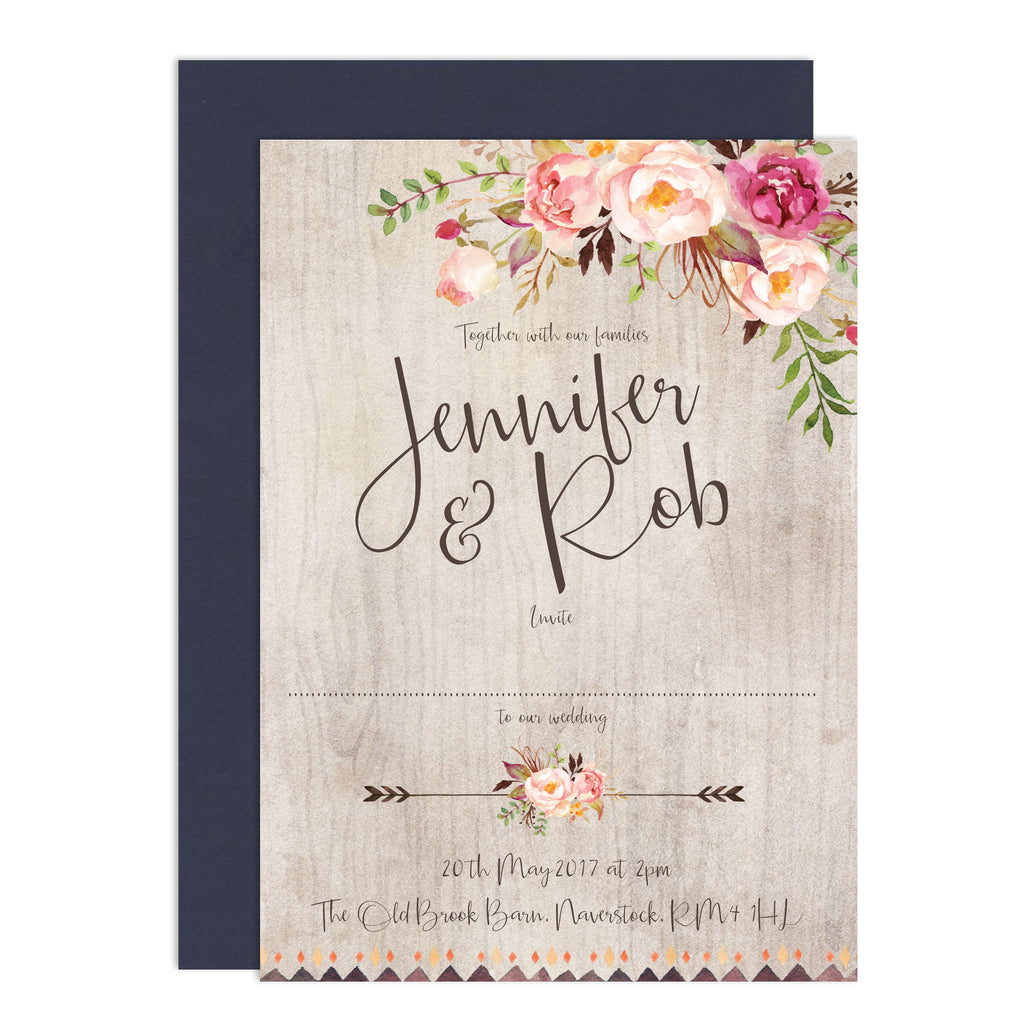 Boho Floral Wedding Invitations - Russet and Gray