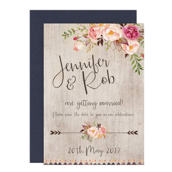 Boho Floral Wedding Save The Date Card - Russet and Gray