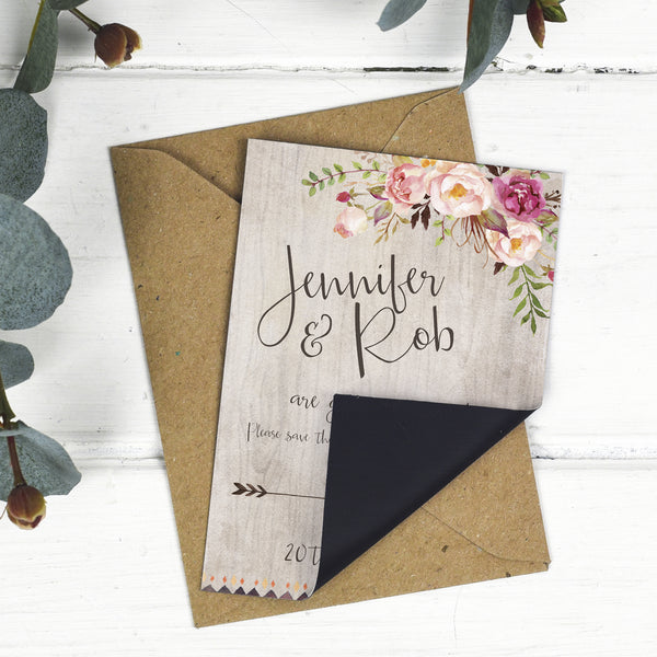 Boho Floral Wedding Save The Date