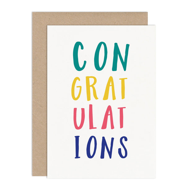 Typographic Congratulations Card - Russet and Gray