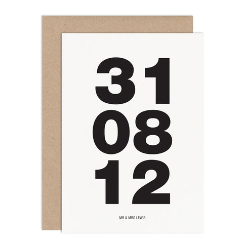 Bold Dates Wedding Card