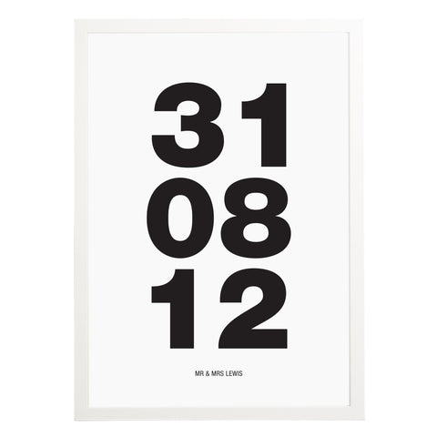 Bold Dates Wedding Print