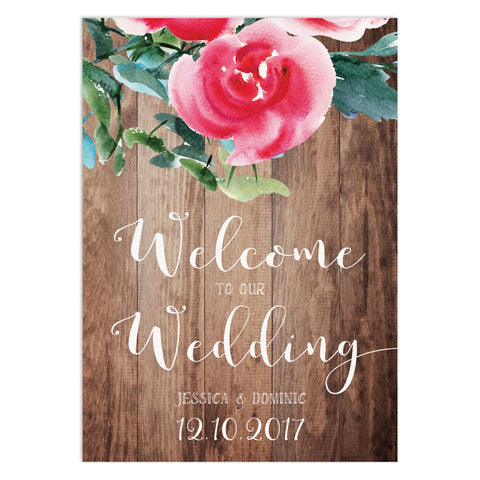 Rustic Floral Welcome To Our Wedding Sign