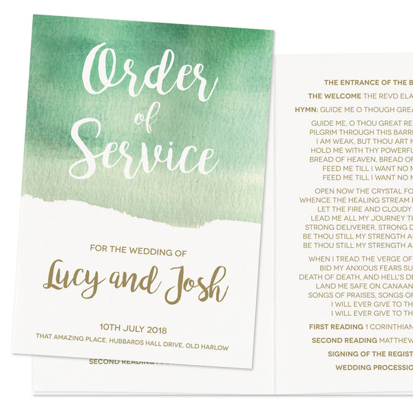 Green Botanical Watercolour Wedding Order of Service