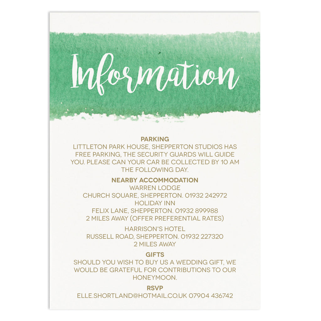Watercolour Wedding Information Card