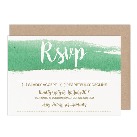 Green Watercolour Wedding RSVP