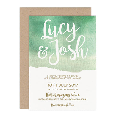 Green Botanical Watercolour Wedding Invitation