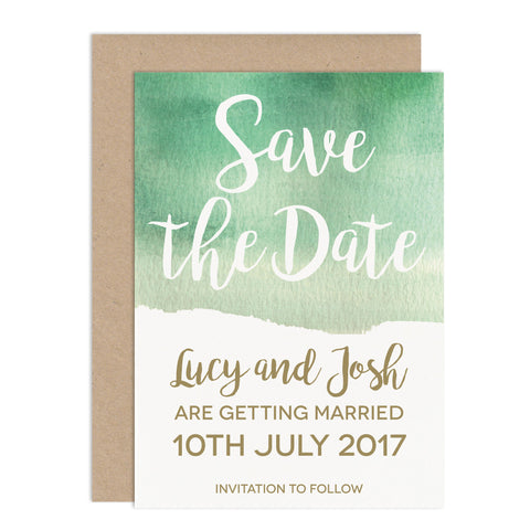 Green Watercolour Wedding Save The Date Card