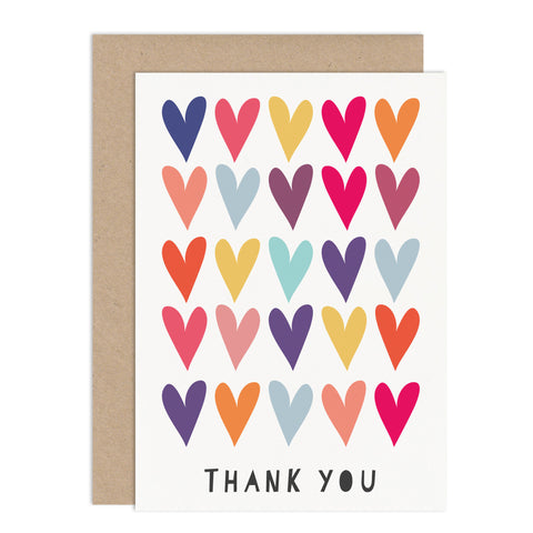 Colourful Hearts Thank You Card Pack - Russet and Gray
