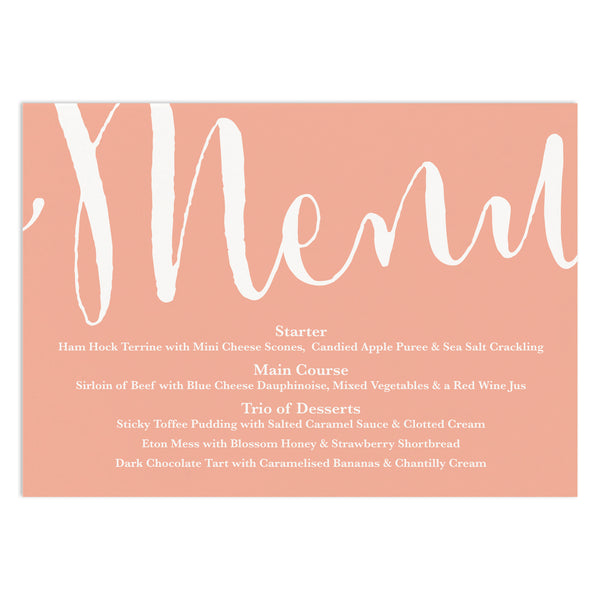 Calligraphy Scripy Wedding Menu