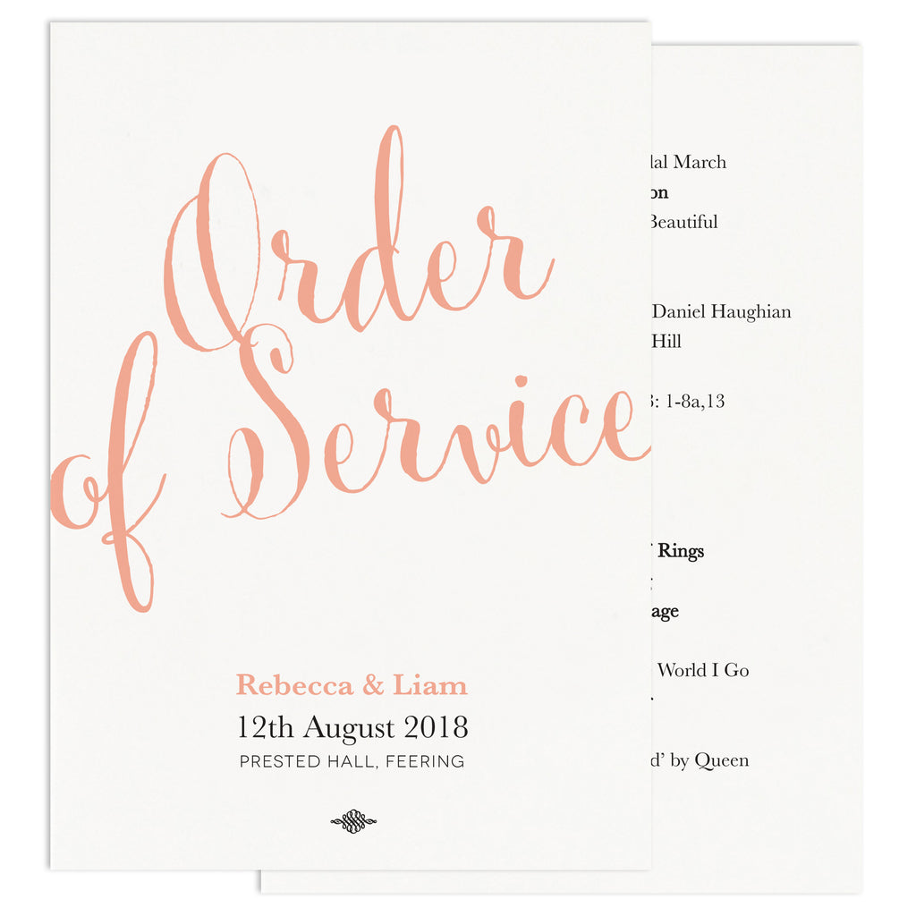 Calligraphy Script Wedding Order of Service Card