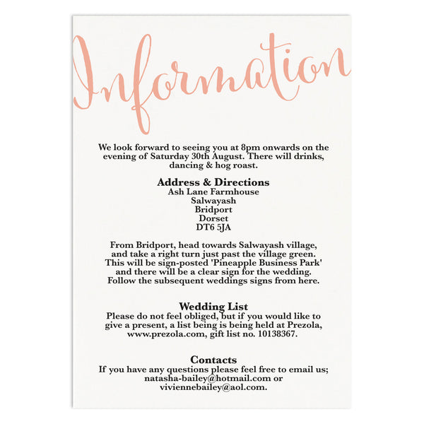 Calligraphy Script Information Card - Russet and Gray