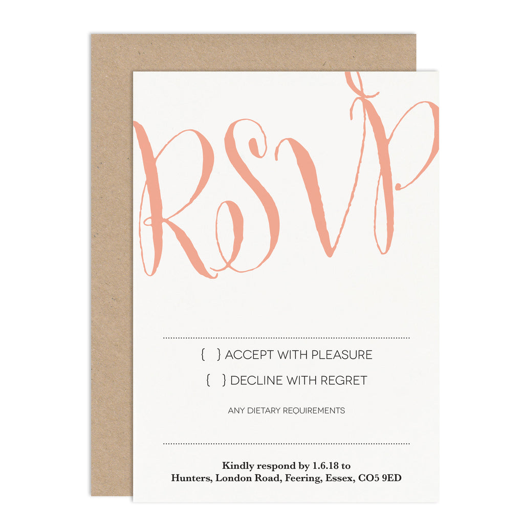 Calligraphy Script RSVP Card - Russet and Gray