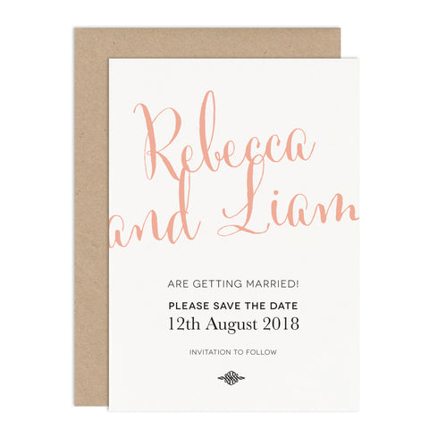 Calligraphy Script Wedding Save The Date Card - Russet and Gray