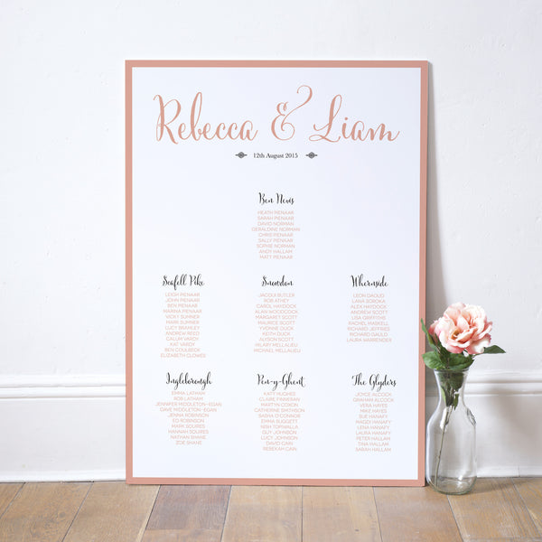 Calligraphy Script Table Plan - Russet and Gray