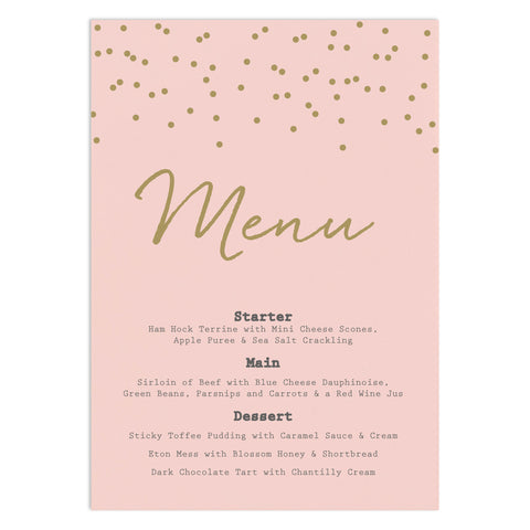 Confetti Wedding Menu