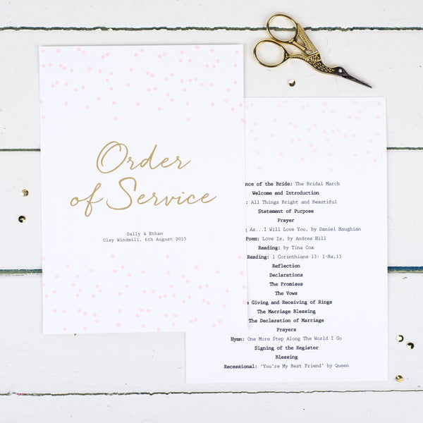 Confetti Wedding Order Of Service Cards
