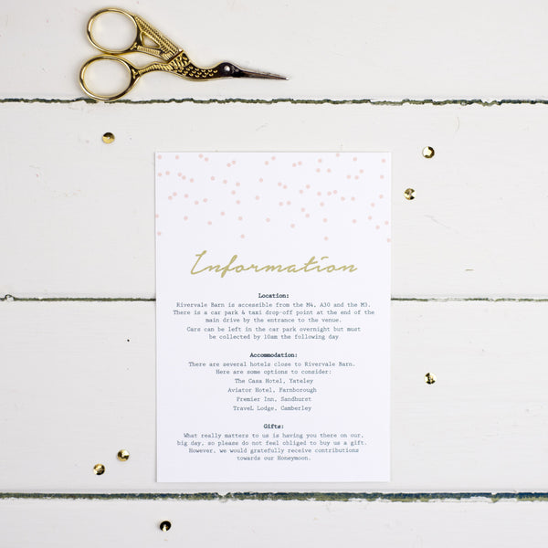 Confetti Information Card - Russet and Gray