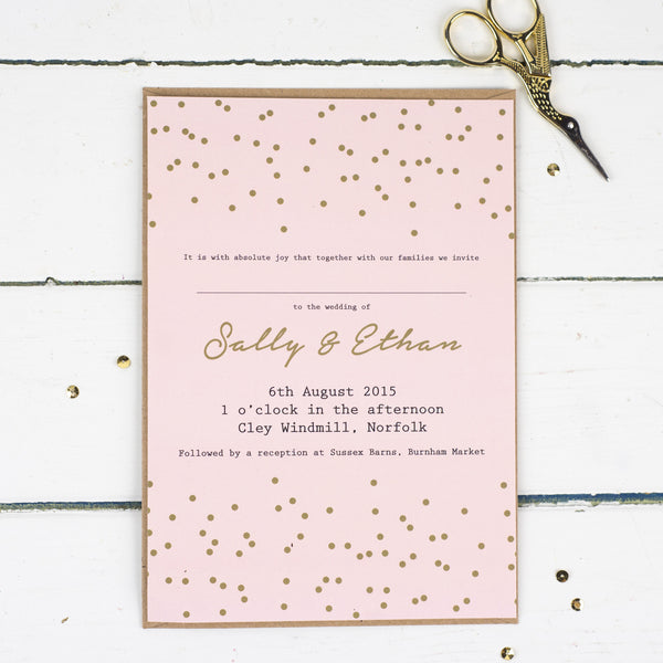 Confetti Wedding Invitations - Russet and Gray