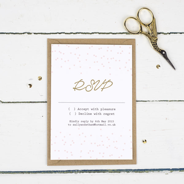 Confetti RSVP Card - Russet and Gray