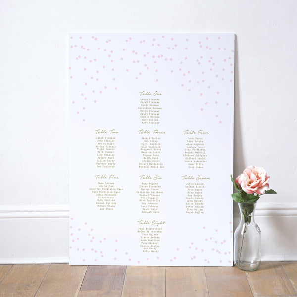 Confetti Table Plan - Russet and Gray