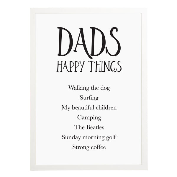 Dad's Happy Things Print - Russet and Gray