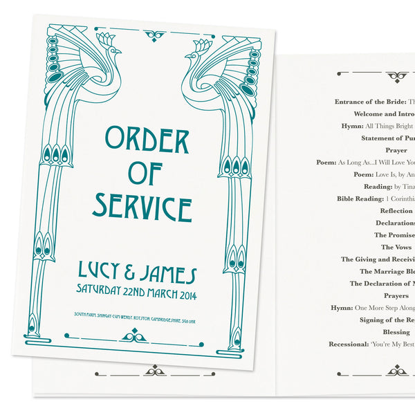 Art Deco Wedding Order Of Service Booklet