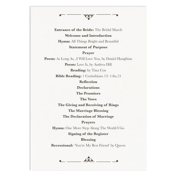 Art Deco Wedding Order Of Service Card