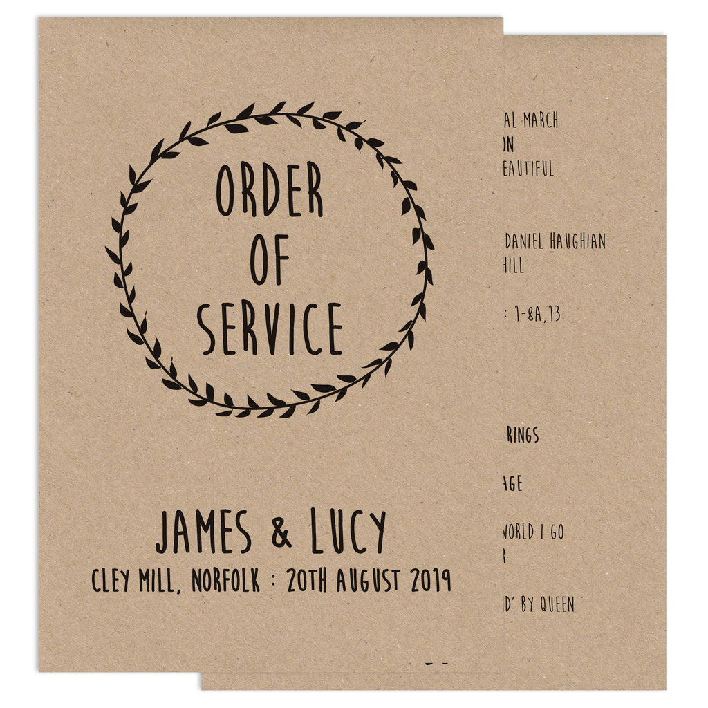 Enchanted Forest Wedding Order Of Service Card