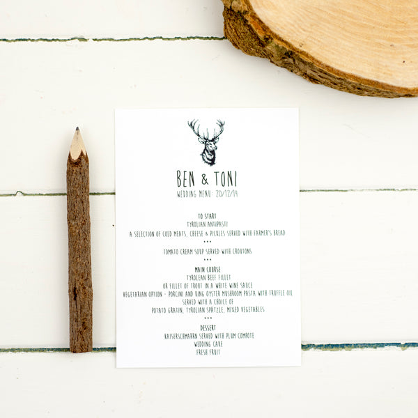 Enchanted Forest Wedding Menu