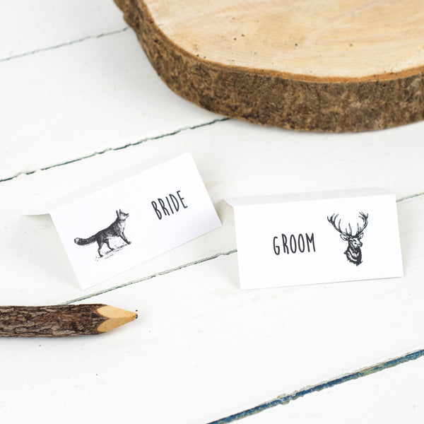 Enchanted Forest Personalised Wedding Place Cards