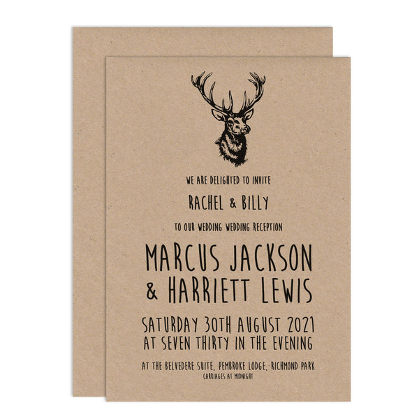 Enchanted Forest Wedding Invitations - Russet and Gray