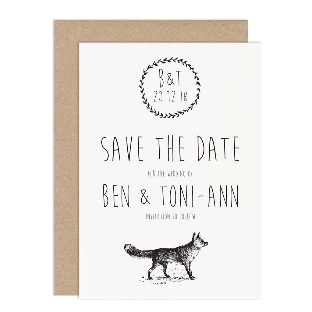 Enchanted Forest Wedding Save The Date Card - Russet and Gray