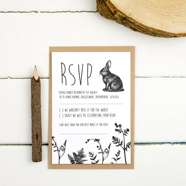 Enchanted Forest RSVP Card - Russet and Gray