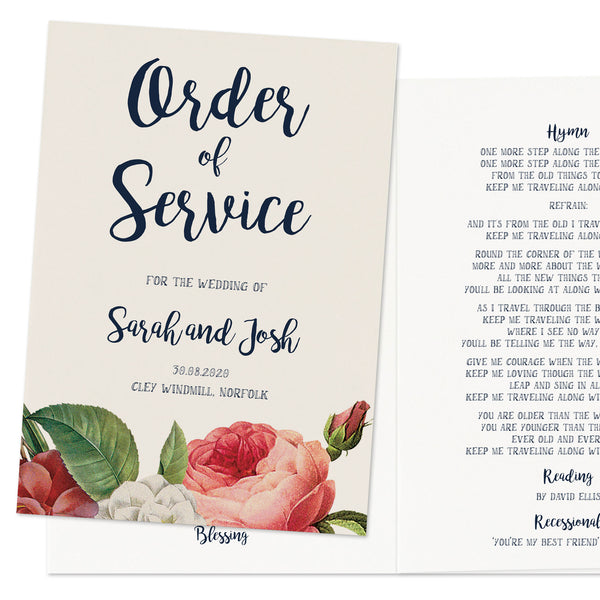 English Garden Wedding Order Of Service Booklet
