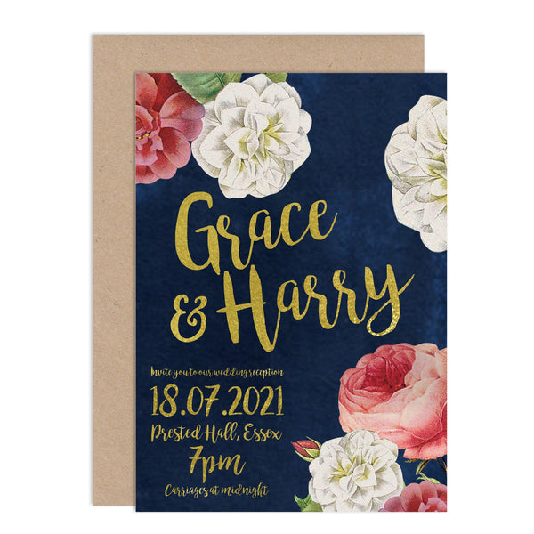 English Garden Wedding Invitations - Russet and Gray