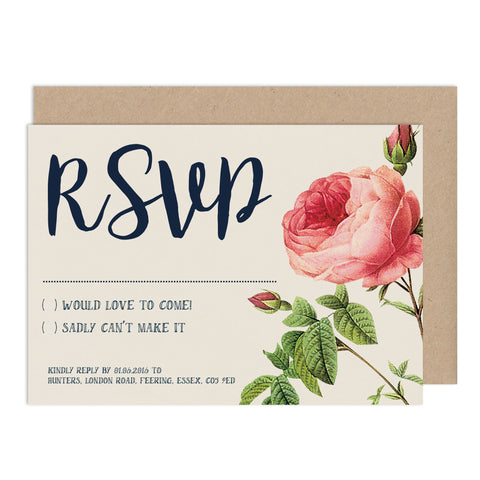 English Garden RSVP Card - Russet and Gray