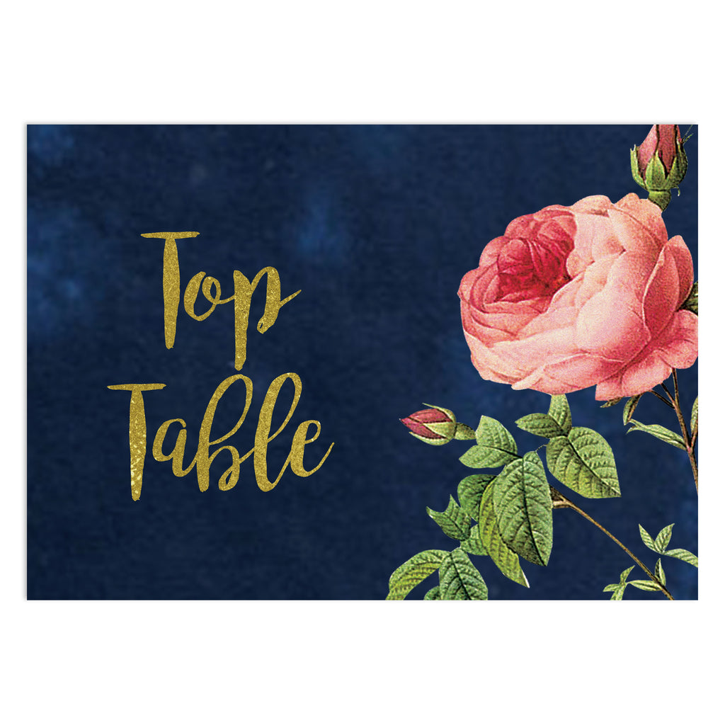 English Garden Floral Wedding Table Number Cards