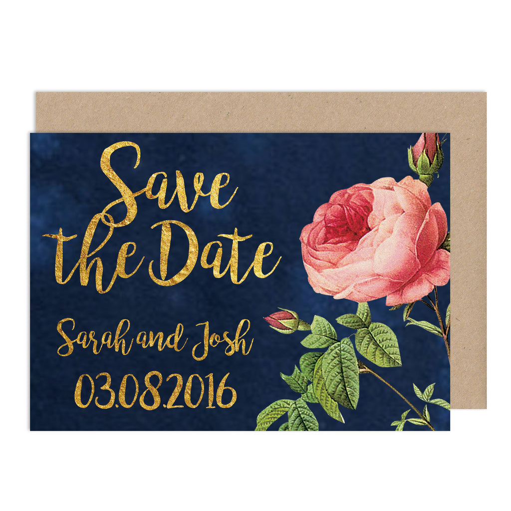 English Garden Wedding Save The Date Card - Russet and Gray