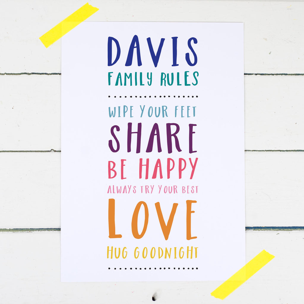 Personalised Family Rules Print - Russet and Gray