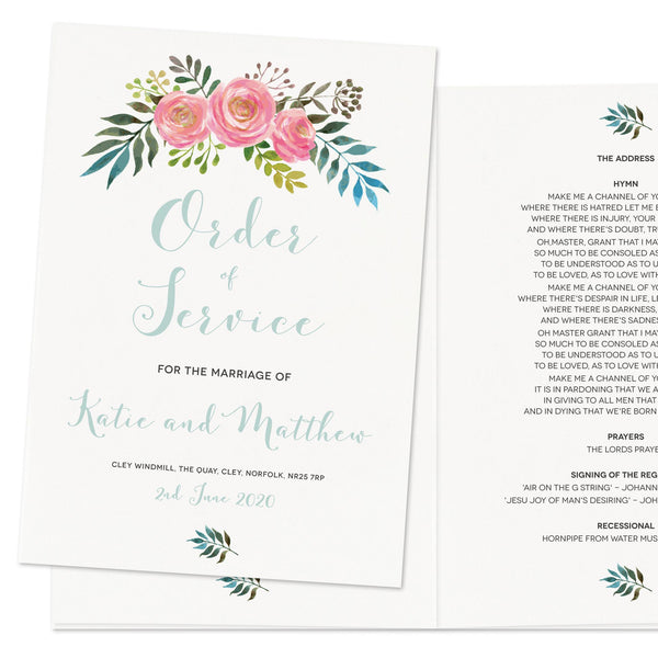 Floral Wedding Order Of Service Booklet