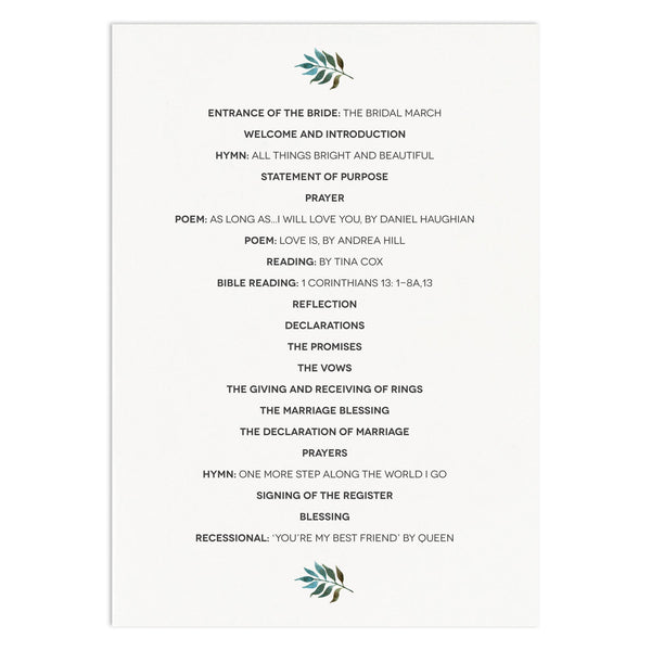 Floral Wedding Order Of Service Card