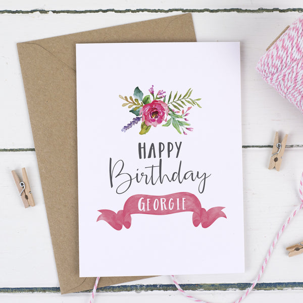 Personalised Floral Birthday Card - Russet and Gray