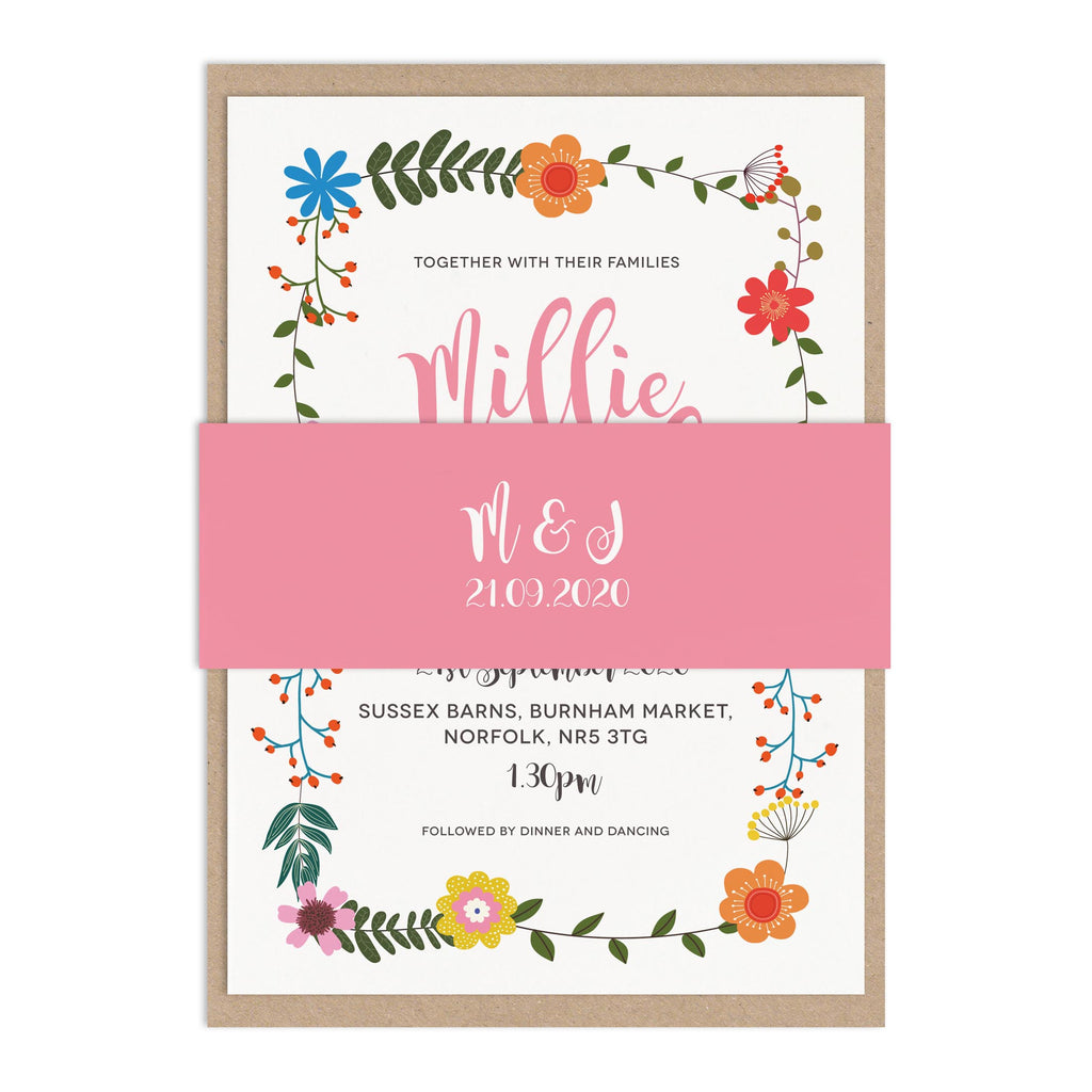 Floral Border Wedding Stationery