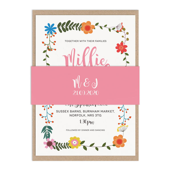 Floral Border Wedding Invite Belly Bands
