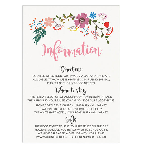 Floral Border Wedding Information Cards