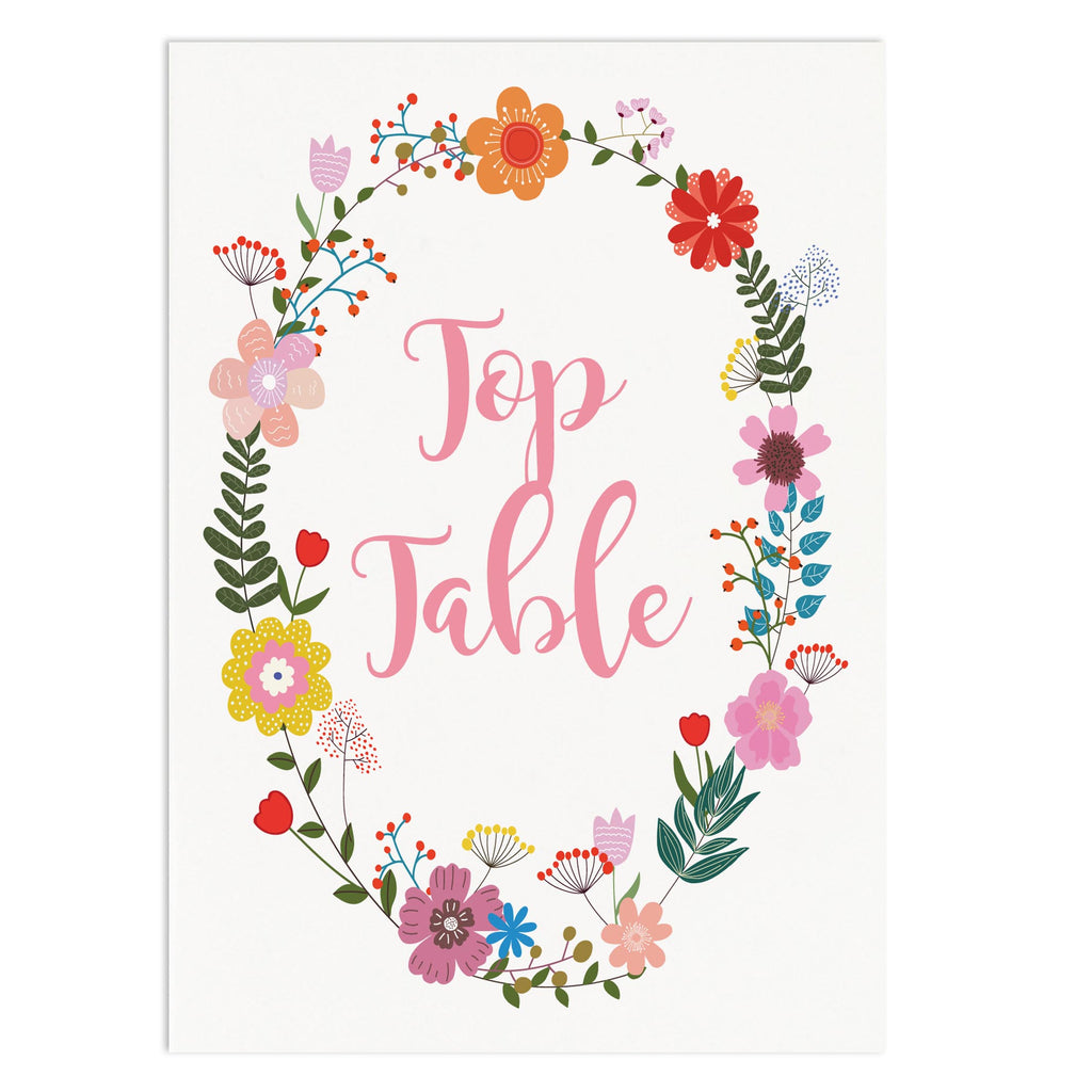 Floral Border Wedding Table Number Cards