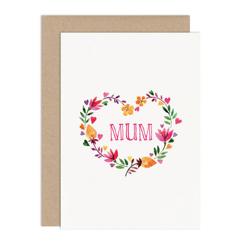 Personalised Floral Heart Card - Russet and Gray