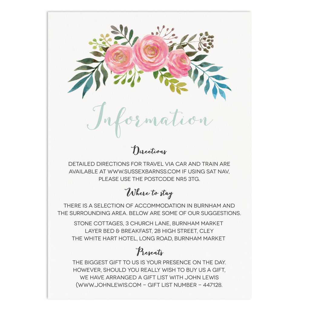 Floral Wedding Information Card