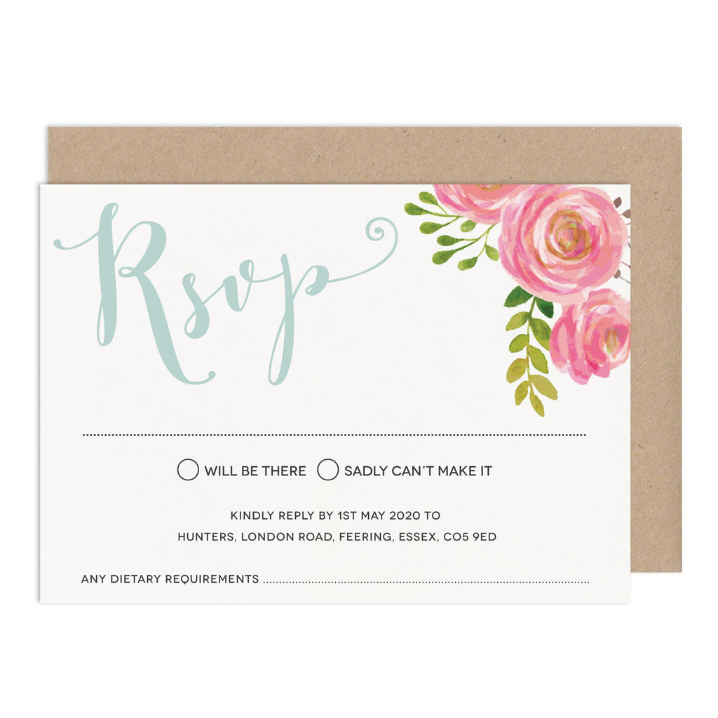 Floral Wedding RSVP Card